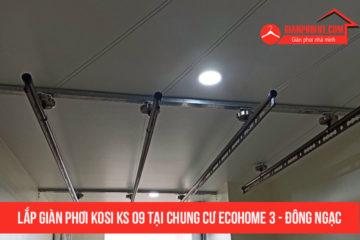 Hình ảnh lắp đặt thực tế giàn phơi Kosi KS09 tại chung cư Ecohom 3 Đông Ngạc